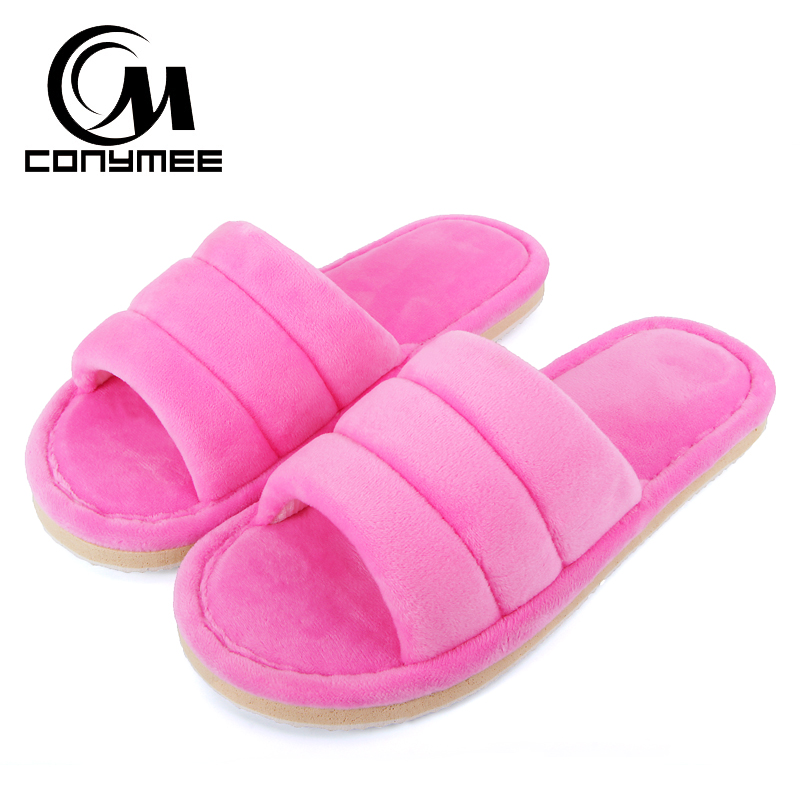 CONYMEE 2018 Winter Autumn Shoes Flock Women Home Shoes Ladies Indoor House Slippers Flat Shoe Woman Warm Plush Pink Slipper цена и фото