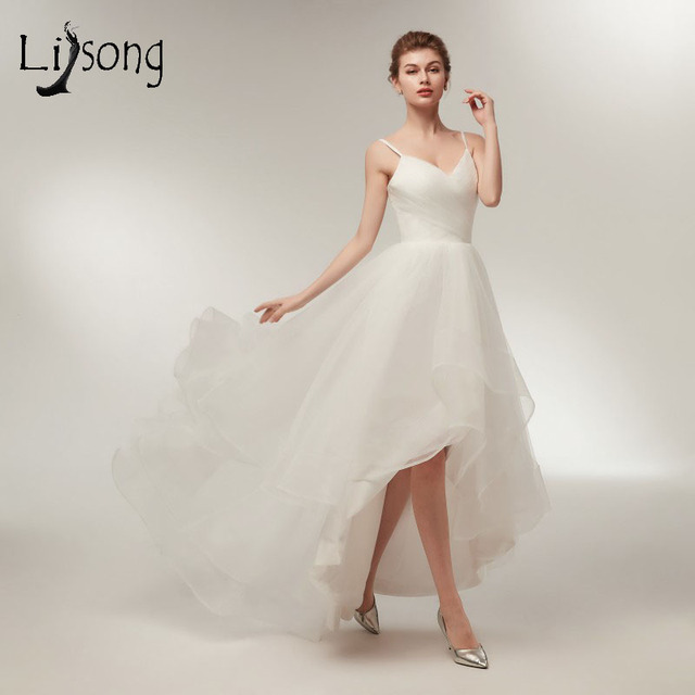 Simple 2018 Beach High Low Tulle Beach Wedding Dresses Ruffles ...
