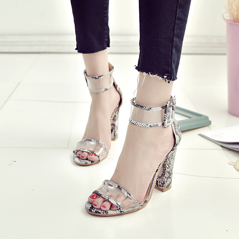 POLALI Super High Shoes Women Pumps Sexy Clear Transparent Strap Buckle Summer Sandals High Heels Shoes Women Party Shoes