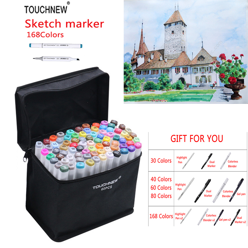 TOUCHNEW 168 Colors Art Marker Set Alcoholic oily based ink Sketch Marker For Manga Marker For Design Drawing Art Supplies touchnew art marker 168 colors alcoholic marker artist sketch marker best for drawing manga design art supplies