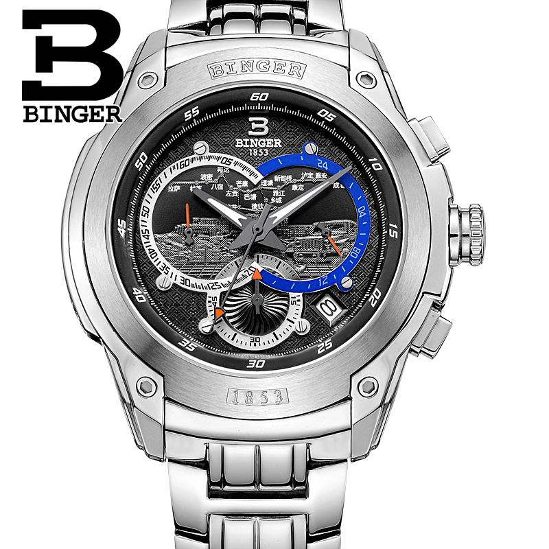 Switzerland watches men luxury brand clock BINGER Quartz mens watch full stainless steel Chronograph Diver glowwatch B6013-3Switzerland watches men luxury brand clock BINGER Quartz mens watch full stainless steel Chronograph Diver glowwatch B6013-3