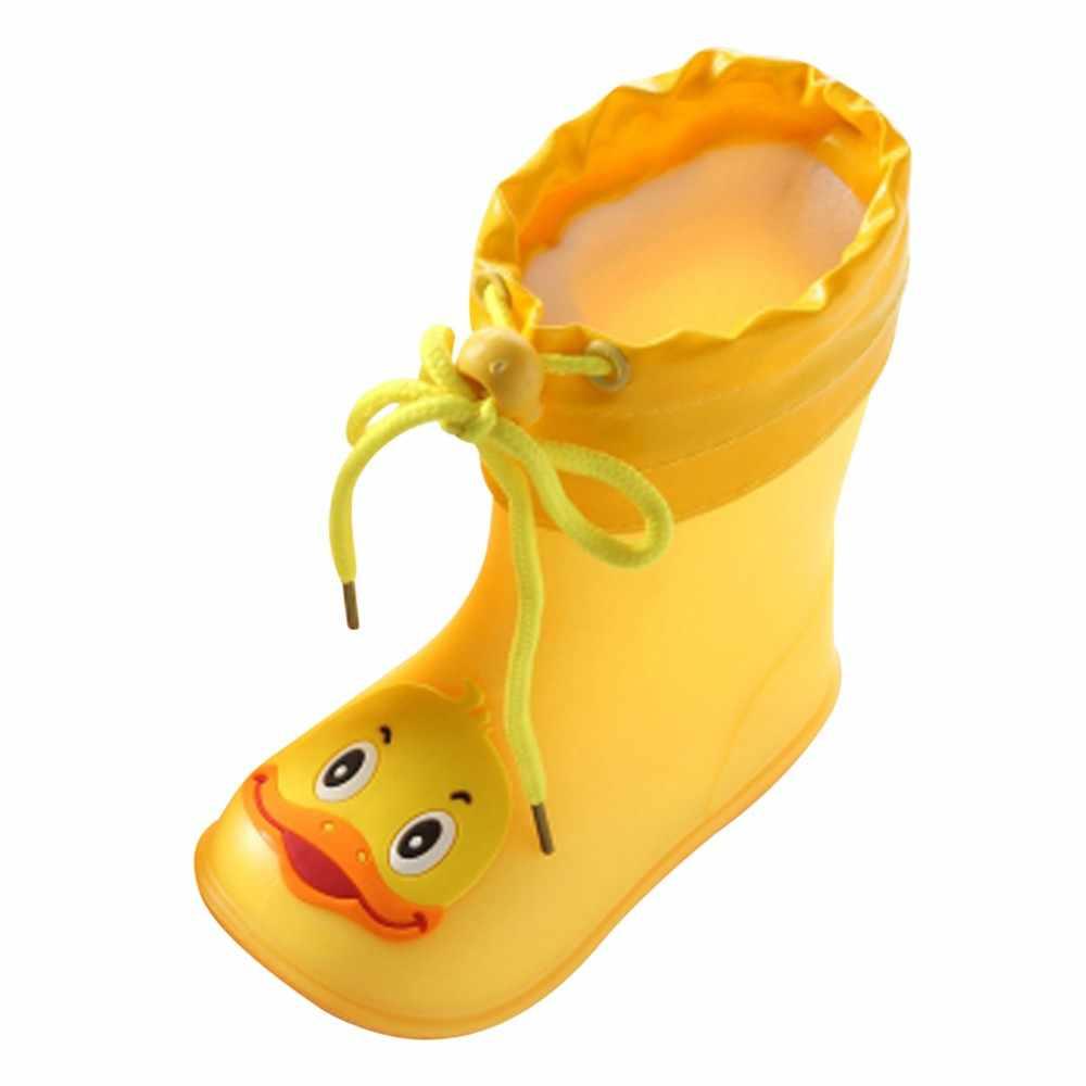 Резиновые непромокаемые сапоги для детей, детские сапоги для младенцев желтый утенок из мультфильма резиновые водонепроницаемые теплые сапоги непромокаемая обувь для девочек и мальчиков