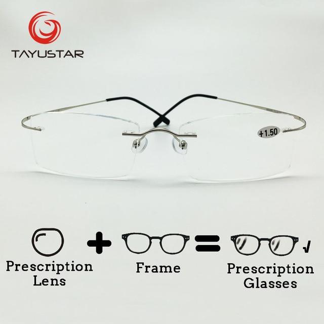 11f9a973f7 US $57.99  Brand Design Rimless Optical frame pure titanium with case  Eyeglasses prescription glasses Customs Lens 8505 Black Friday-in  Prescription ...