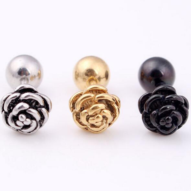 2 pieces Punk Stainless Steel Stud Earring Girl Flower stud earing Rose Flower Earring Body Piercing Jewelry Black