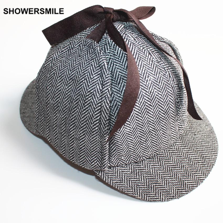 Prix pour SHOWERSMILE Marque Sherlock Holmes Détective Chapeau Unisexe Cosplay Accessoires Hommes Femmes Enfant Deux Bords Casquette de baseball Deerstalker