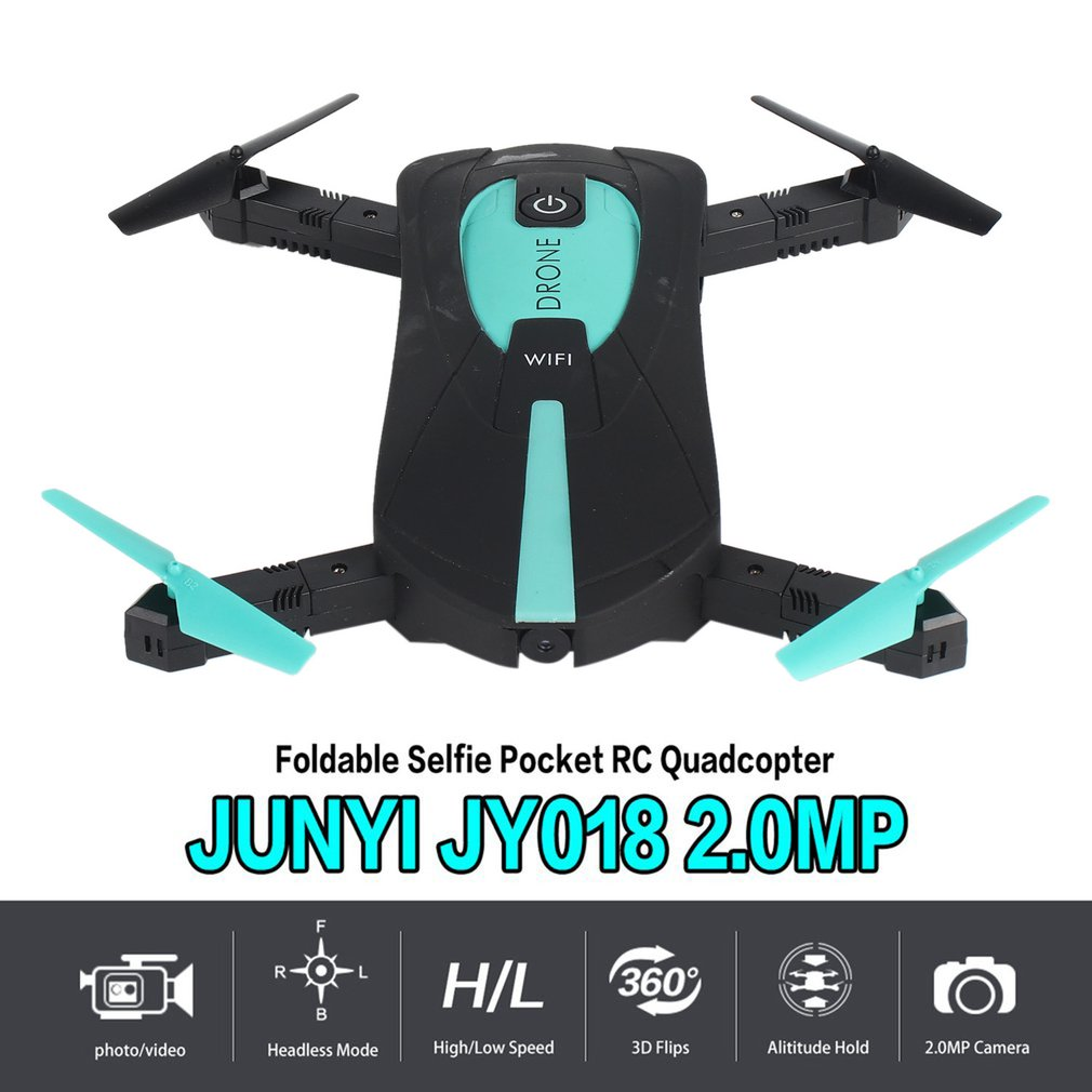 JY018 RC Drone Foldable Selfie Pocket Drone 2 4GHz 6-Axis Gyro Wifi FPV  2 0MP Camera G-Sensor Altitude Hold RC Drone Helicopter