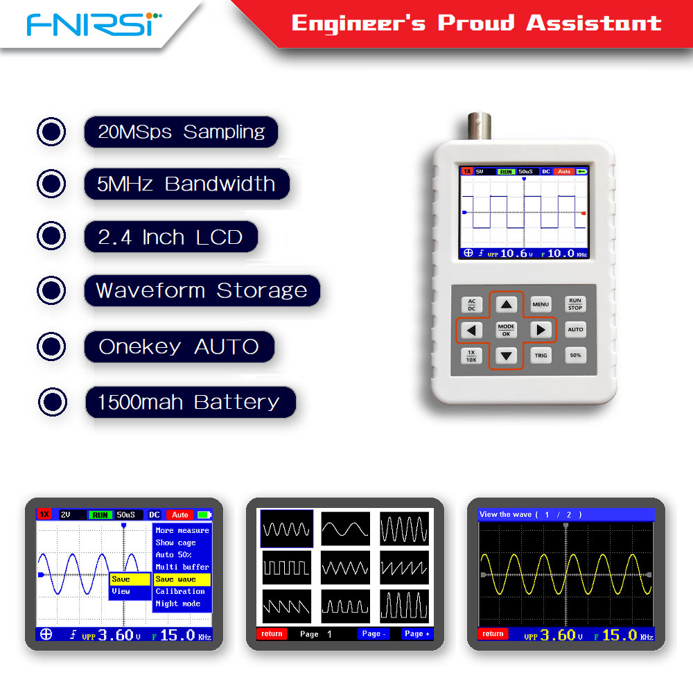 DSO FNIRSI PRO Handheld mini portable digital oscilloscope 5M bandwidth 20MSps sampling rate with P6020 BNC