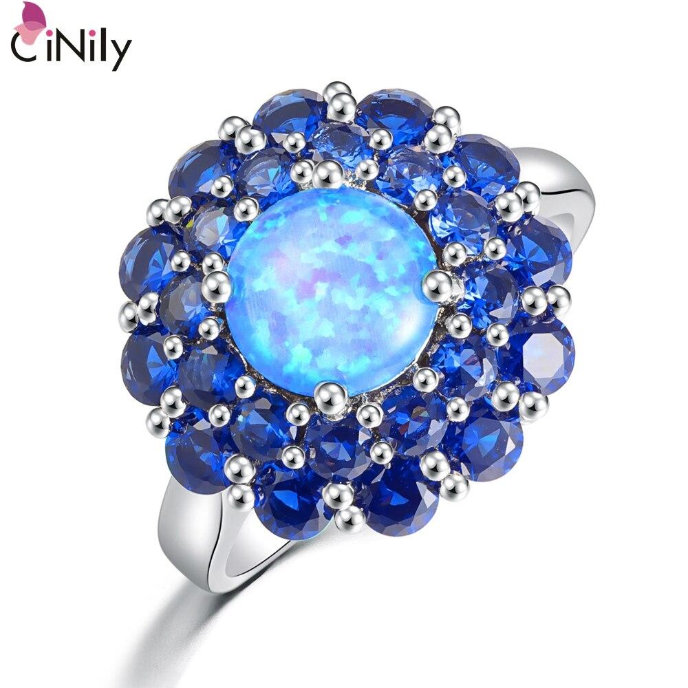 Cinily Ring Wholesale Fire-Opal Blue Zircon Jewelry Silver-Plated Women for 5-0 OJ4892