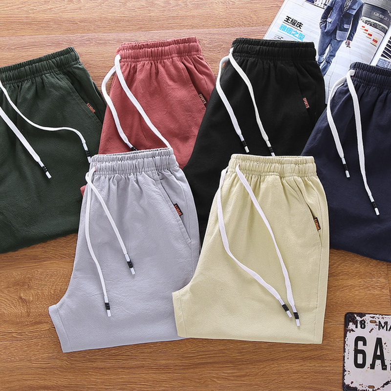UWBACK Summer Mens Shorts Summer Casual Short Elastic Mid Waist Beach Shorts Drawstring 2Pockets M-5XL Plus Size  ZA001