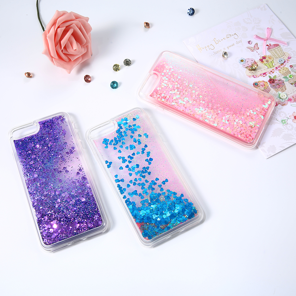 DOEES Bling Liquid Quicksand Phone Case For iPhone 7 8 Plus Shiny Sequin PC Glitter Case Cover For iPhone 5 5S SE 6 6s 7 Plus