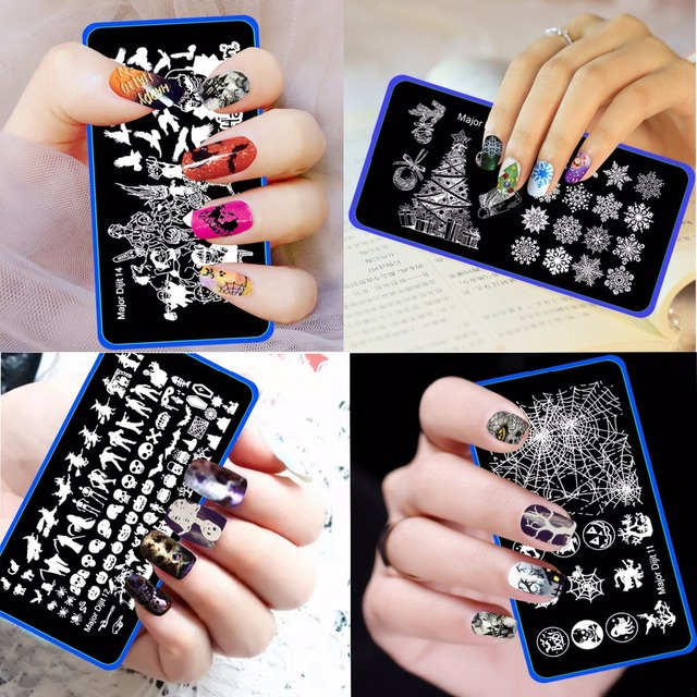 Aliexpress buy 10pcs christmas halloween 612cm pattern nail 10pcs christmas halloween 612cm pattern nail stamping plates image konad stamping nail art manicure prinsesfo Choice Image