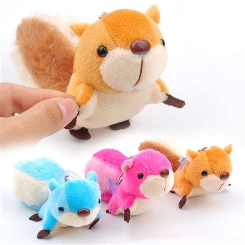 Cute Big Tail Cartoon Squirrel Plush Toys Soft Stuffed Dolls Small Pendant Key Chains Graduation Wedding Gift