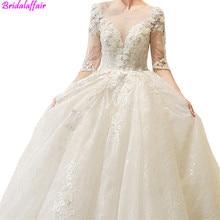 Luxury Lace Long Wedding Gown White Dresses 2019 Half Sleeve V-Neck Up Tulle vestido de noiva