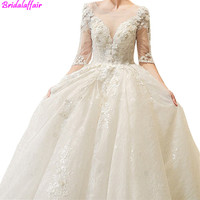 Luxury Lace Long Wedding Gown White Wedding Dresses 2019 Half Sleeve V Neck Lace Up Tulle vestido de noiva Wedding Dresses