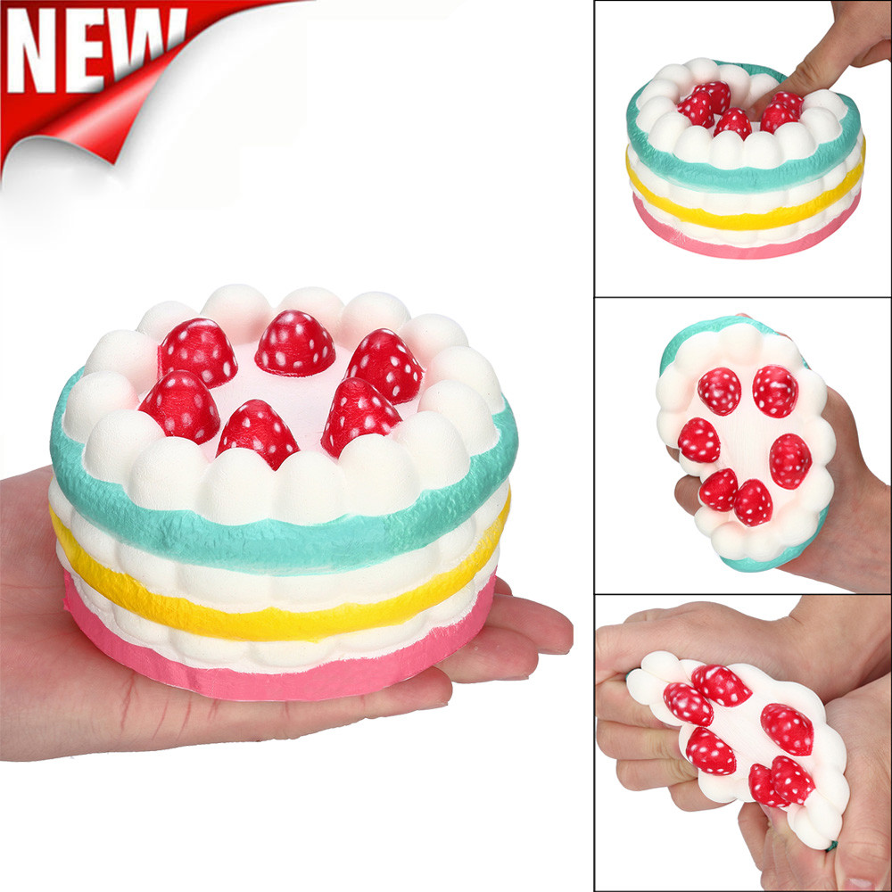 Antistress Elastic Environmentally PU Cat Antistress Stress Reliever Strawberry Cake Slow Rising Scented Fun Animal Toys