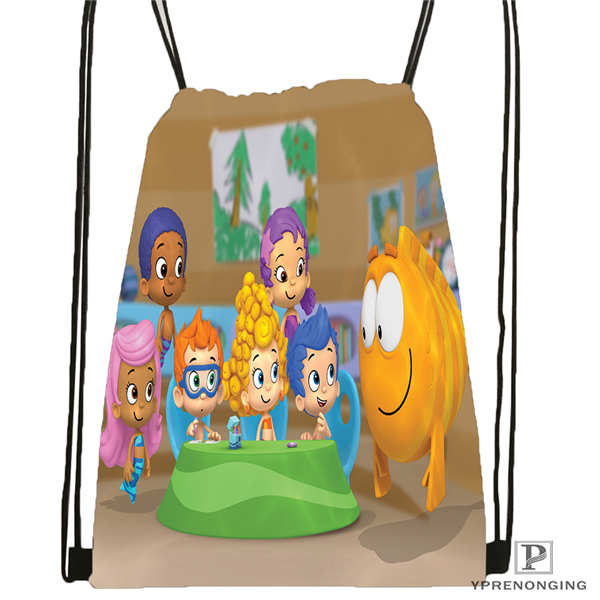 Custom Bubble-Guppies Drawstring Backpack Bag Cute Daypack Kids Satchel (Black Back) 31x40cm#2018612-01-31