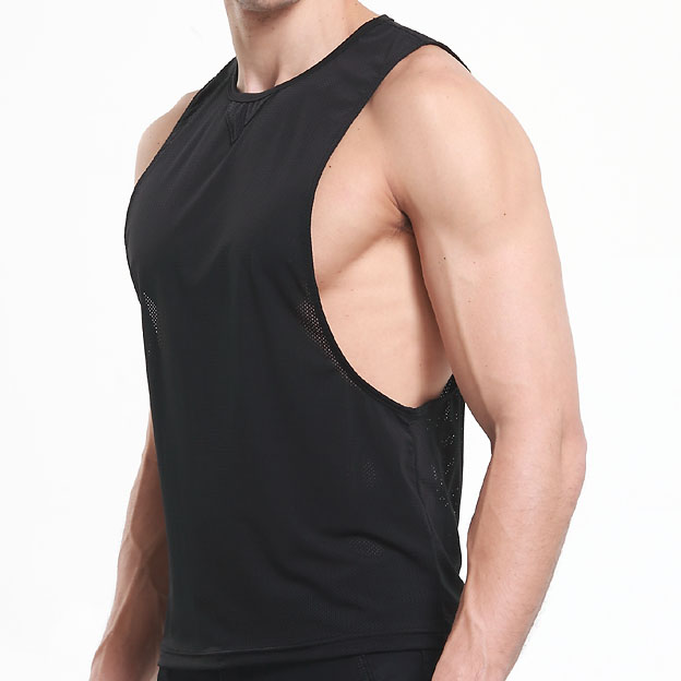 Mens Vivid Tank Tops Low Cut Armholes Vest 2018 Brand New Mesh Breathable Black Sexy Tank Muscle Mans Vest Singlet Shirt in Tank Tops from Men 39 s Clothing