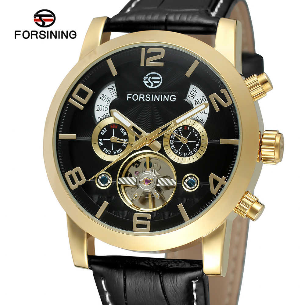 Forsining Mode mannen Horloges klok Band Noctilucent Mechanische Beweging automatische Sport Business Analoge Dial Polshorloge