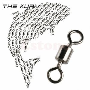 Image 1 - THEKUAI Angeln Wirbel Angeln Haken 2 #/4 #/6 #/8 #/10 #/ 12 #/14 # Barrel Lager Roll Swivel Solide Ring LB Lockt