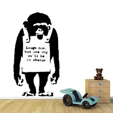 Removable Banksy Wall Decal GorillaLaugh Now Art Modern Home Sticker Decals GW-49