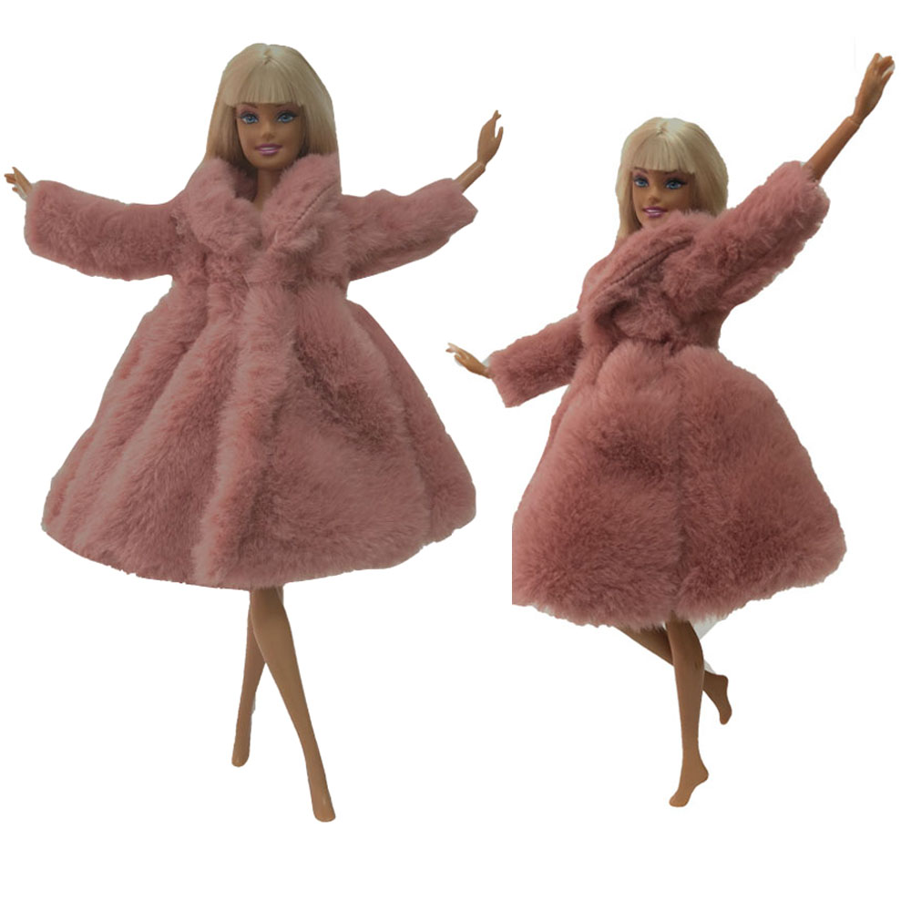 NK  Doll Coat High Quality Clothes Fashion Dresse Handmade Grows Outfit Flannel Coat For Barbie Doll Accessories DIY Toy 02B DZ