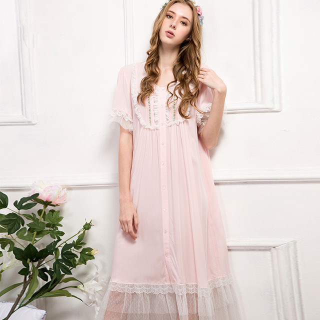 New Arrival Autumn Women\'s Pink Pure Cotton Gowns Lady Elegant ...