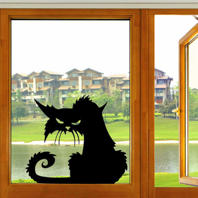 practical black funny cat removable car window wall laptop halloween vinyl decal sticker home decor - Window Clings Halloween