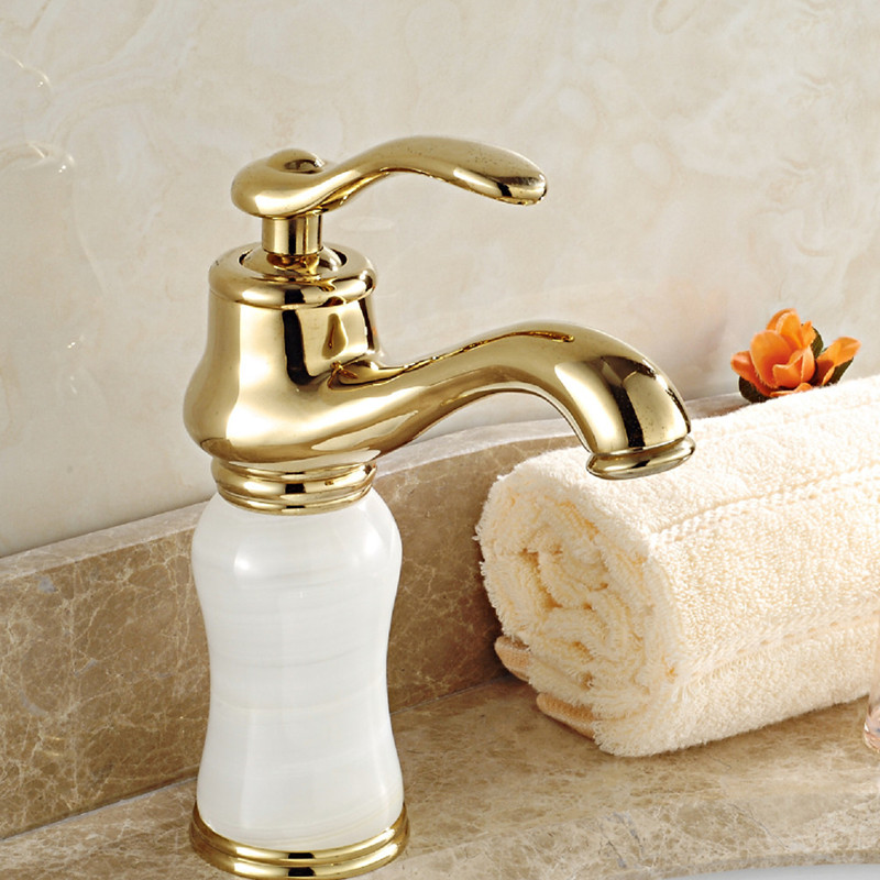Free shipping New design jade stone gold basin sink mixer tap with solid brass bathroom basin faucet and hot cold kitchen faucet