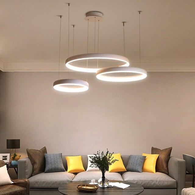 Circel Ring Modern led Pendant Lights For Living Room Dining Room Shop Bar White/Coffee Color Hanging Pendant Lamp Fixtures