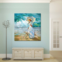 Women With umbrella On a walk picture – Palette Knife Contemporary Fine Art Landscape Oil Painting Hand Painted