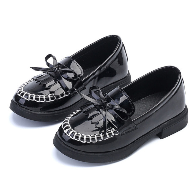 Fringe Toddlers Girls Leather Shoes Black Slip On Patent PU Kids Girl Dress Shoes For Party Bow Tie Princes Girls School Shoes
