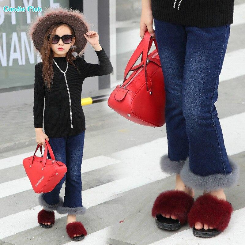 2017 winter new girl plus velvet thickening jeans elastic real rabbit fur font b cowboy b