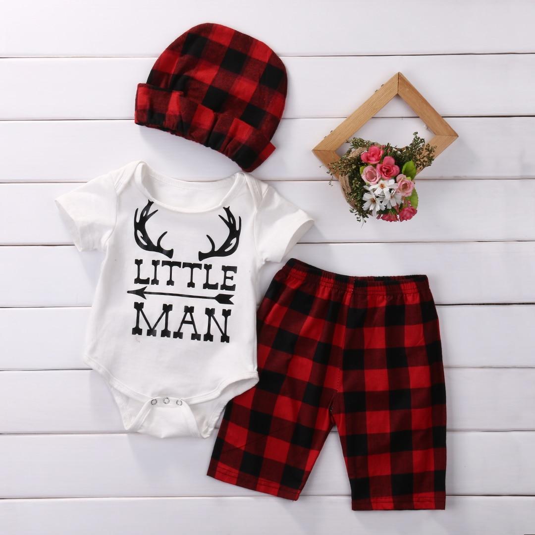 Cute Infant Baby Girl Boy Clothing Set Striped Tops Bodysuits Short Sleeve Pants Plaid Hat 3pcs Clothes Outfits Set baby boy clothes set elephant print short sleeve tops striped long pants
