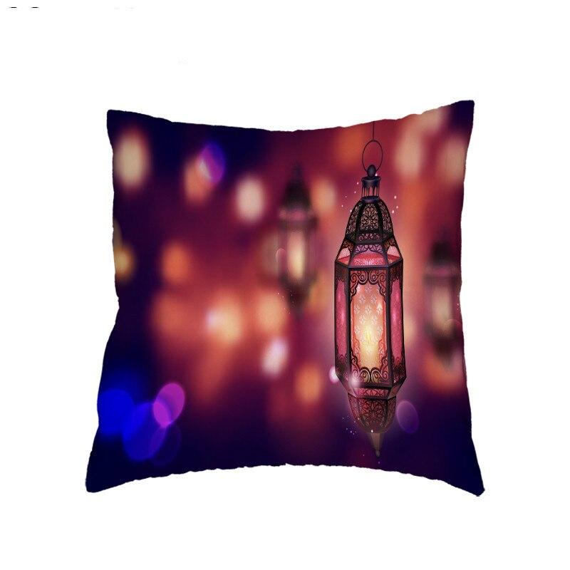 Islamic Eid al-Fitr Ramadan Cushion Cover Polyester Peach Skin Decoration Bedroom Sofa Bed Muslim Mosque Decoration 45X45CM