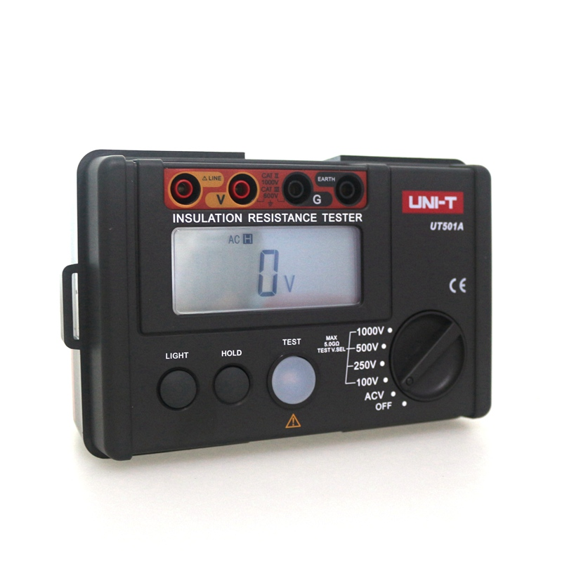 UNI-T UT501A Insulation Ground Earth Resistance Tester Auto Range Digital LCD Ohm Meter Voltage Detector 1000V Free Shipping uni t ut501b insulation resistance testers auto range lcd backlight high voltage indication