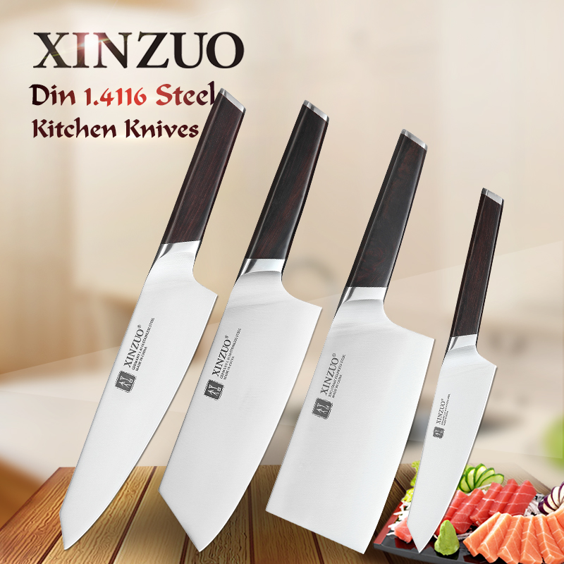 XINZUO 4 PCS Kitchen Knives Set Chef Bone Chopper Cleaver Meat Utility Knife Stainless Steel Kitchen