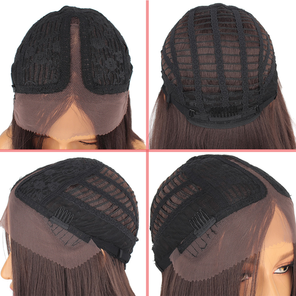 Leeven Hair 14inch Synthetic Lace Front Wig Short Straight Bob Wigs For Woman Black Brown Classic Middel Part Free Shipping 2