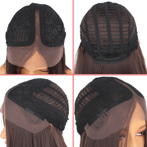 Image 3 - Leeven Hair 14'' Synthetic Lace Front Wig Short Straight Bob Wigs For Woman Black Brown Classic Middel Part Lace Frontal Wig