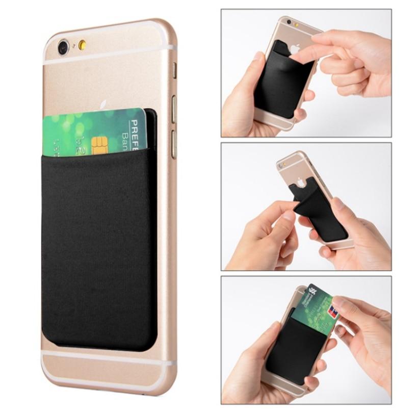 Women Fashion Adhesive Elastic Lycra Cell Phone Pocket Wallet Case Men ID Credit Card Holder Pocket Stick 9.9*5.5cm