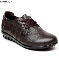 WHITESUN Autumn Winter Low Heel Pumps Women Soft Genuine Leather Shoes Mature Ladies Wedges Shoes Plush