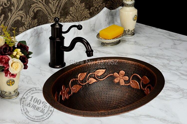 Livraison Gratuite lavage de Mode bassin, Bronze Bassin, main De Cuivre Évier, Antique Bronze Bassin, Laiton Ovale Compteur Bassin, en gros