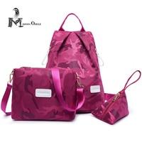 Rosa camouflage donne del sacchetto set sacchetto di nylon zaino di modo delle donne zaino delle signore sacchetto di libro di alta qualità delle donne set borsa