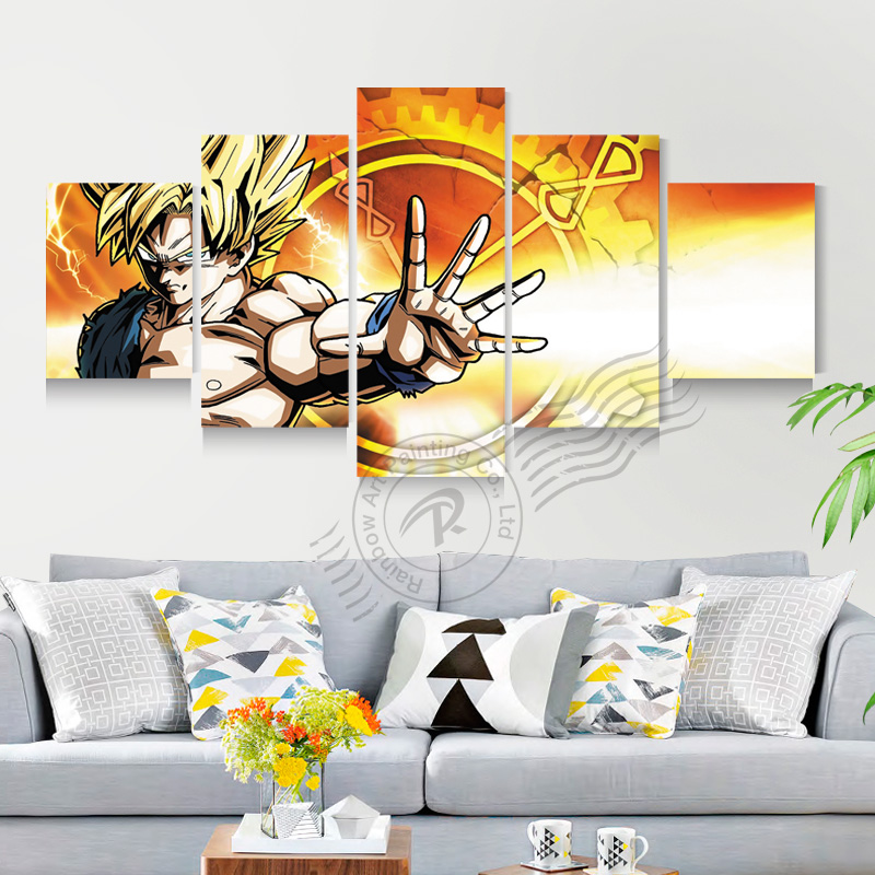 5 panel dragon ball z movie poster canvas oil painting for Dragon ball z living room