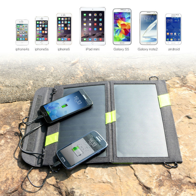 14W 5V Solar Panel Charger Dual Output Solar Power Bank Camping Outdoor Cellphone Charger for iPhone