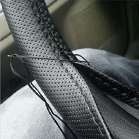 1PC DIY Car Steering Wheel Cover With Needles and Thread Artificial leather Gray /Black|car steering wheel cover|steering wheel cover|wheel cover -