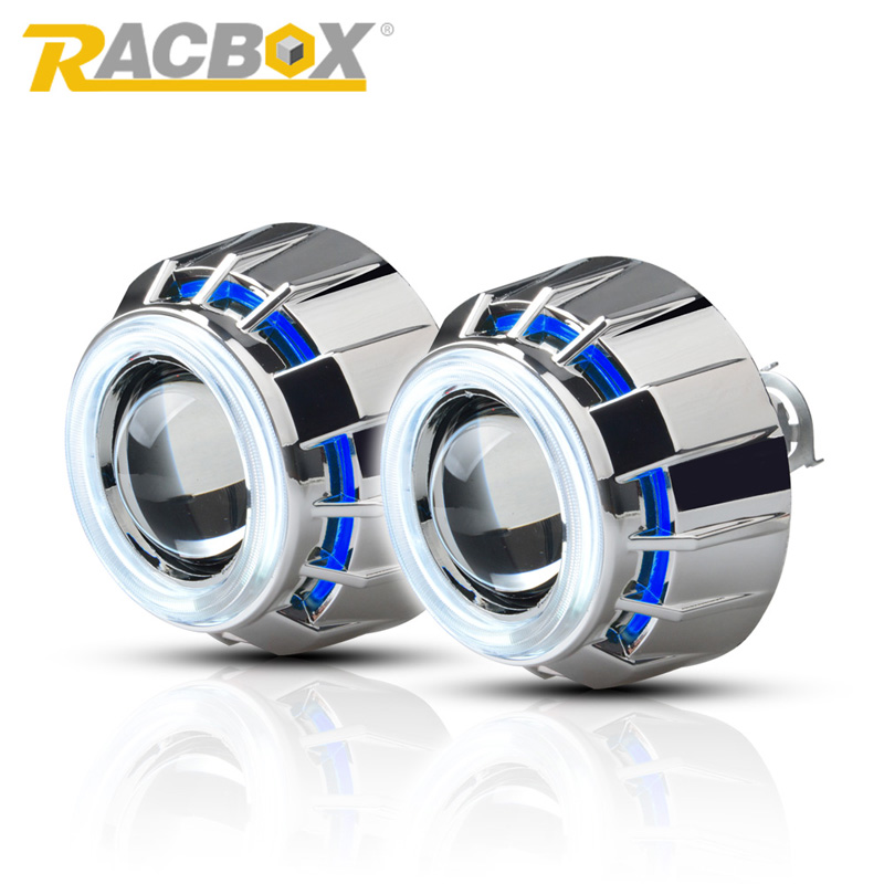 RACBOX Pair 3 inch H1 HID Bi Xenon Projector Lens with White Red Blue Angel Eye CCFL Styling Headlight For Automobile Motorcycle auto motorcycle 35w 2 inch hid bixenon projector lens headlight kit 6000k 4300k blue green red yellow white ccfl angel eye