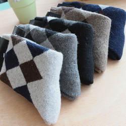 10 пар/лот зимние мужские Носки кашемир толстые теплые шерстяные носки алмаз полотенце посвободнее махровые Носки