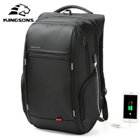 Kingsons 1517 Laptop Backpack External USB Charge Computer Backpacks Anti theft Waterproof Bags for Men Women