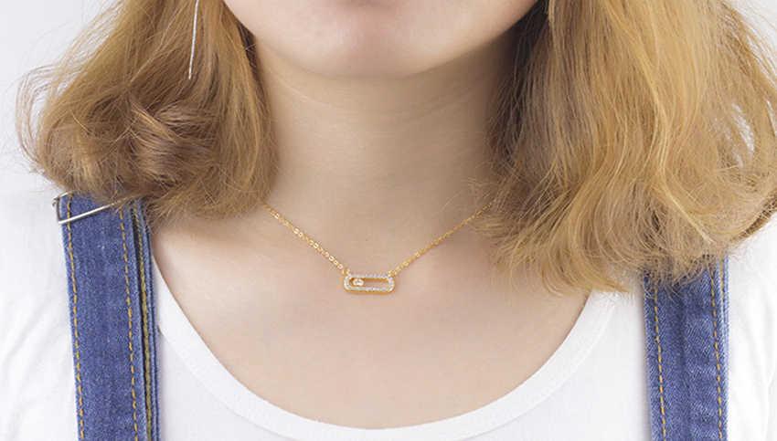 Emiraty styl kryształ wisiorek z koralików naszyjnik dla kobiet Dainty biżuteria ślubna różowe złoto ze stali nierdzewnej 3 Dot na owalnym naszyjnik Colar