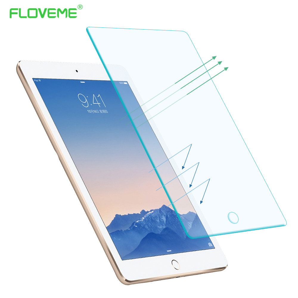 FLOVEME Tempered Reinforced Glass Screen Protector Case For iPad 2 3 4 /5 Air For iPad Mini 1 2 3 4 Clear Front Film Retail Box floveme aluminum tablets stand case for ipad 2 3 4 air 2 mini for iphone 5s 6 6s 7 plus for galaxy s7 edge flexible angle adjust